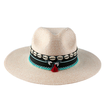 SH-0031 National Wide Brim Straw Panama Fedora Hat for Women Men