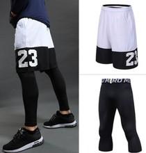 Мужские баскетбольные наборы, спортивный тренажерный зал, быстросохнущие спортивные шорты + колготки для мужчин, футбольные упражнения, Пе...(China)