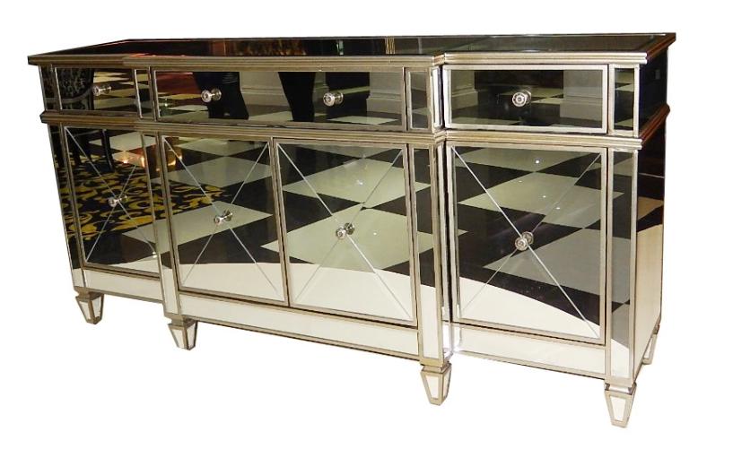 Современный внешний вид, современный зеркальный шкаф с 4 дверцами и 3 ящиками, стеклянная консоль для специального использования, буфетный сервант для гостиной