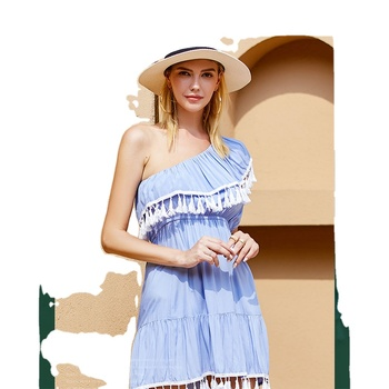 Ladies Clothes White And Blue Sexy Tassel Dress Women Work Garment