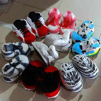 2020 Custom Cotton Sneaker Slippers Fluffy Shaped Children indoor flat Plush Slipper Kids