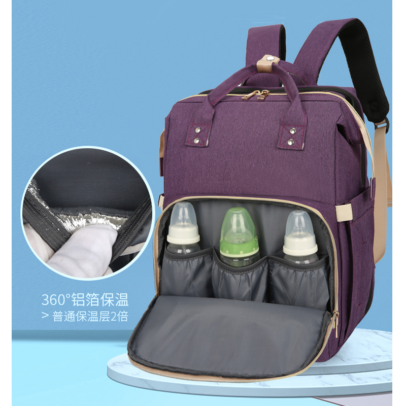 Wholesale Custom Logo Pattern Fashion Candy Color Mom Bags Bed Backpack Baby Diaper Bag with Usb Charger