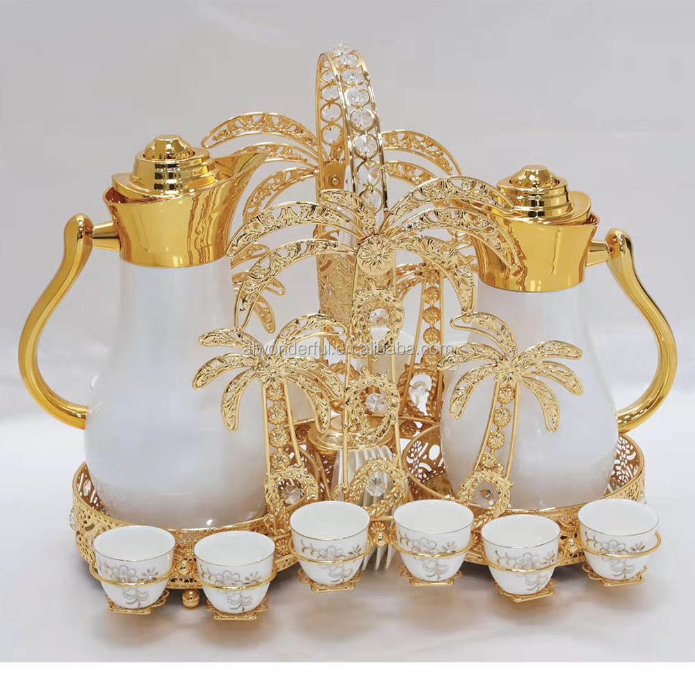2020 coconut tree shape golden flasks vacuum and cup holder set