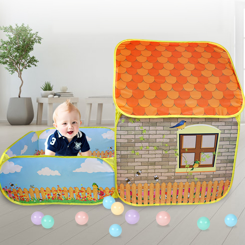 Kids Children Pop Up Tents House With Courtyard Garden Crawling Folding Tent House Boys Girls Play Tent Ball Pool Children Gift