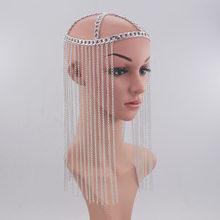 WKOUD EAM Женская длинная металлическая цепочка с кисточками, темпераментная маска для ювелирных украшений, вечерние аксессуары, подарок ZJ473, ...(Китай)