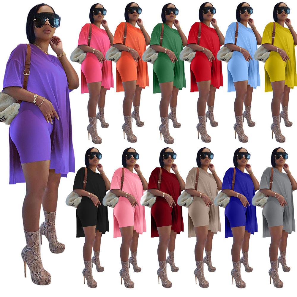 Amazon Hot Sell Solid Loose Casual Tank Top Split Shorts Suit Women Summer Sets 2021