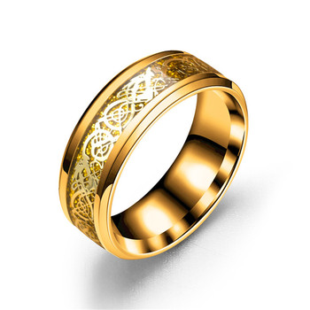 8mm hot designTitanium Celtic Dragon grain Stainless Steel Wedding Band Rings in Silver Gold style for men