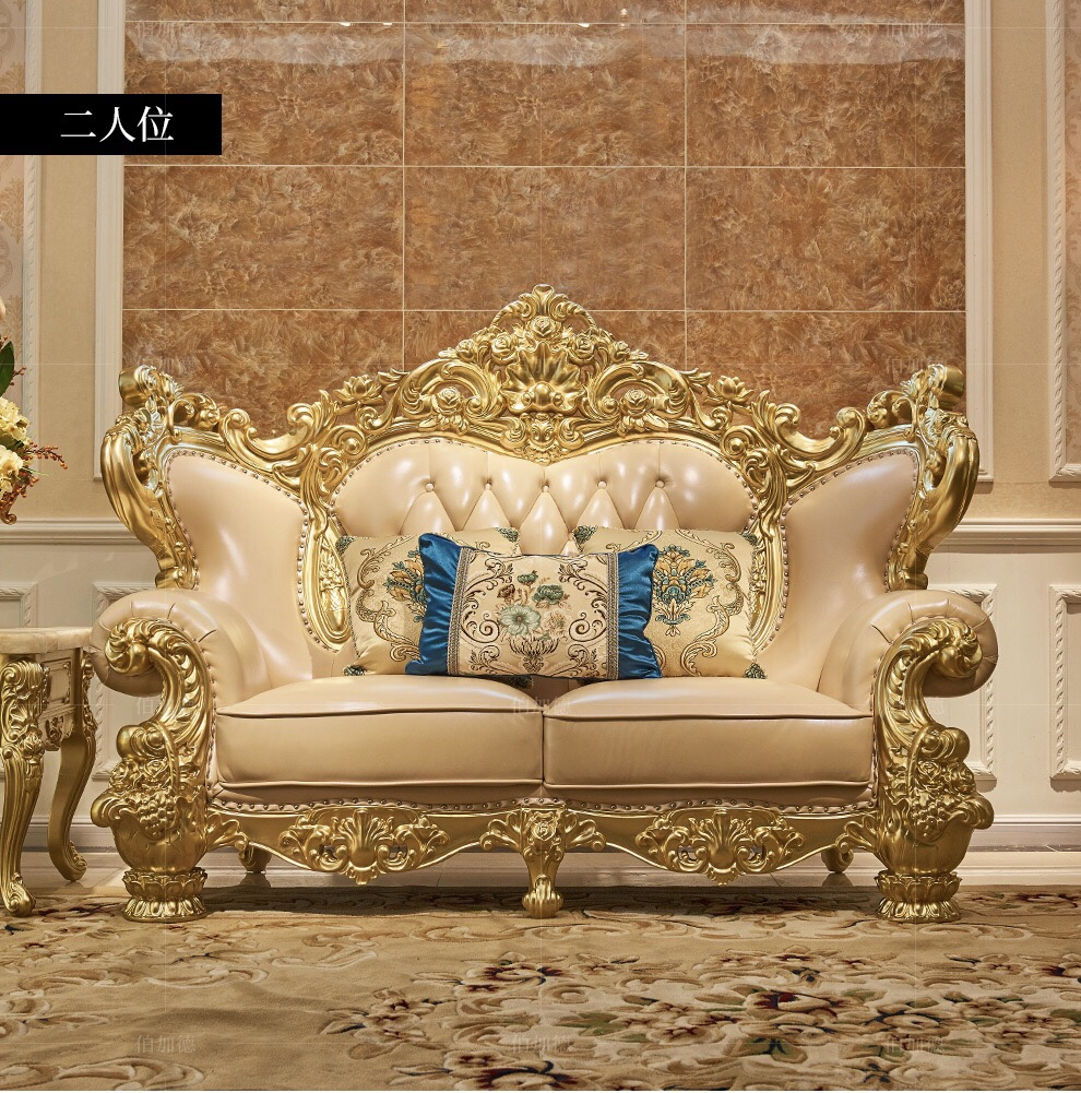 European Style Living Room Genuine Leather Sofa Sets Classical Design Antique Furniture