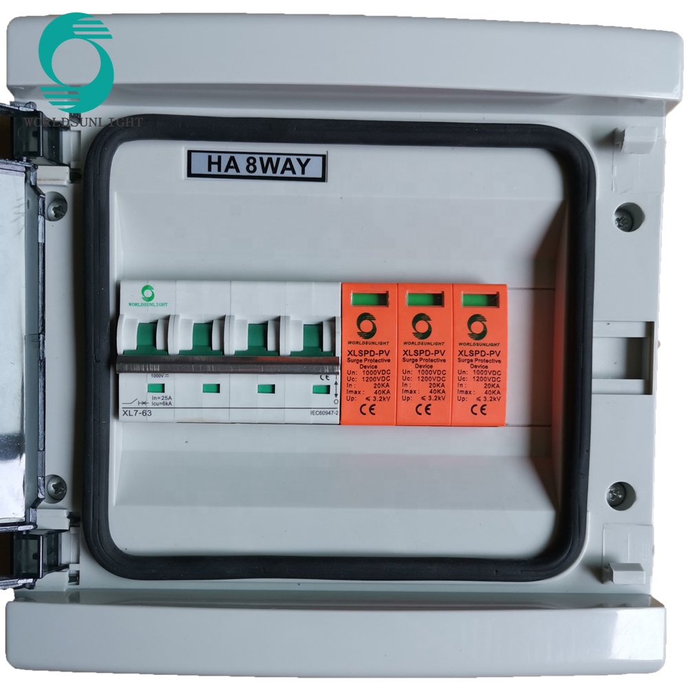 Competitive Price Top Quality IP65 2 INPUT 1 OUTPUT 1000V DC 25A Solar PV Array Combiner Box for Brazil