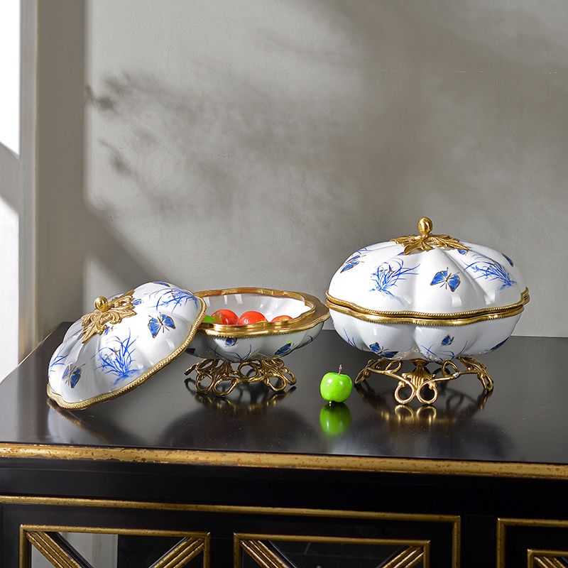 2021 creative designs popular luxury colorful brass ceramic fruit candy bowl sets of 2 accessories for table decorations