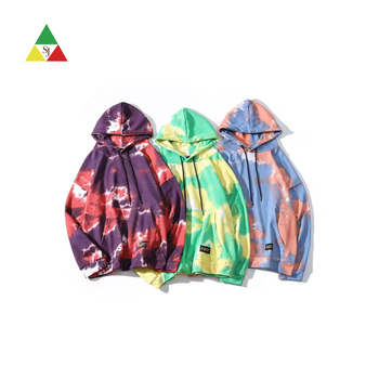 New style fashion men's sweatshirt warm winter pullover men multi color heavyweight tie dye hoodies men pullover