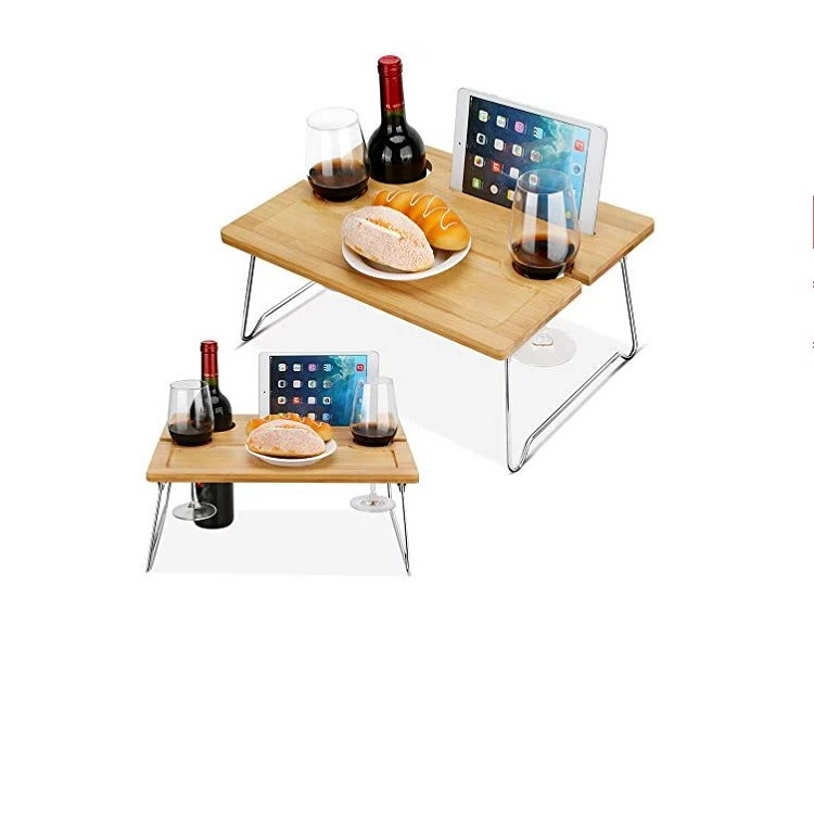 Bamboo Bed Computer Table Sample Breakfast Serving Laptop Desk Workstation Tray Cheese Board Storage Organizer with Flodable Leg
