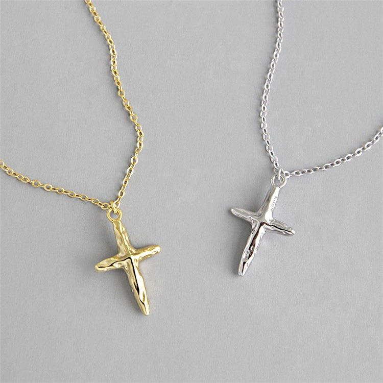 Gold Cross Pendent Necklace 925 Sterling Silver Jewelry for Women