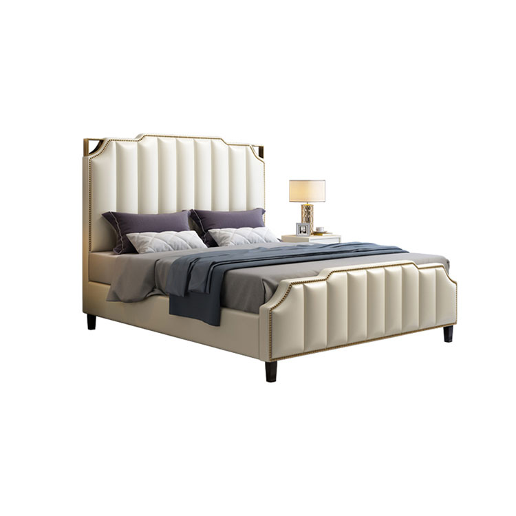 Light luxury leather  simple modern leather master bedroom double small family high box soft  wedding bed