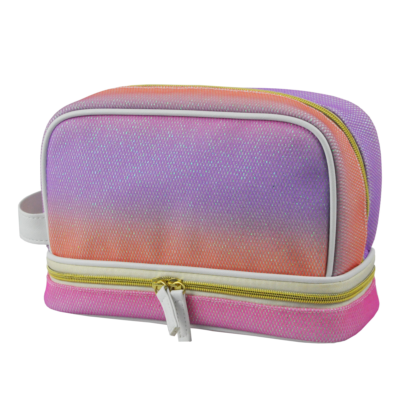 Rainbow Custom Logo Waterproof Storage Leather Travel Toiletry Bag for Women