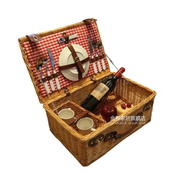YRMT hot selling 2 person picnic basket food wicker picnic basket