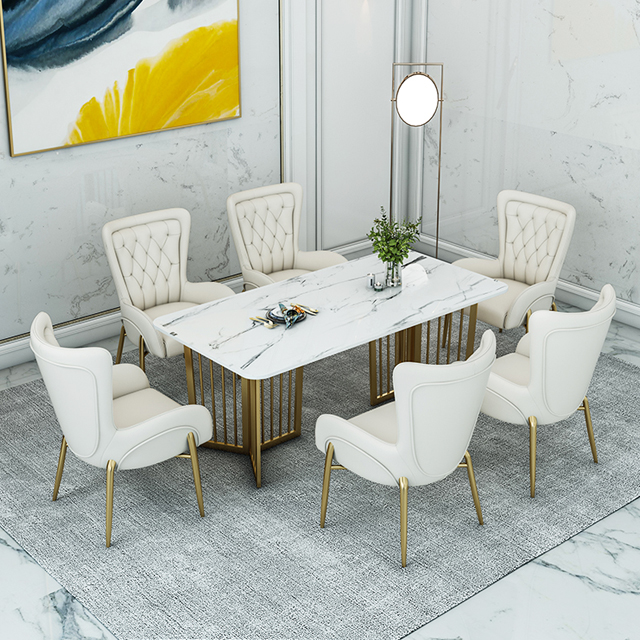 Nordic Dining Table And Chair Combination Italian Light Luxury Rectangular Modern White Marble Dining Table Set Luxury Buy White Marble Dining Table Dinning Room Set Dining Tables Marble Dining Table Set Luxury Product