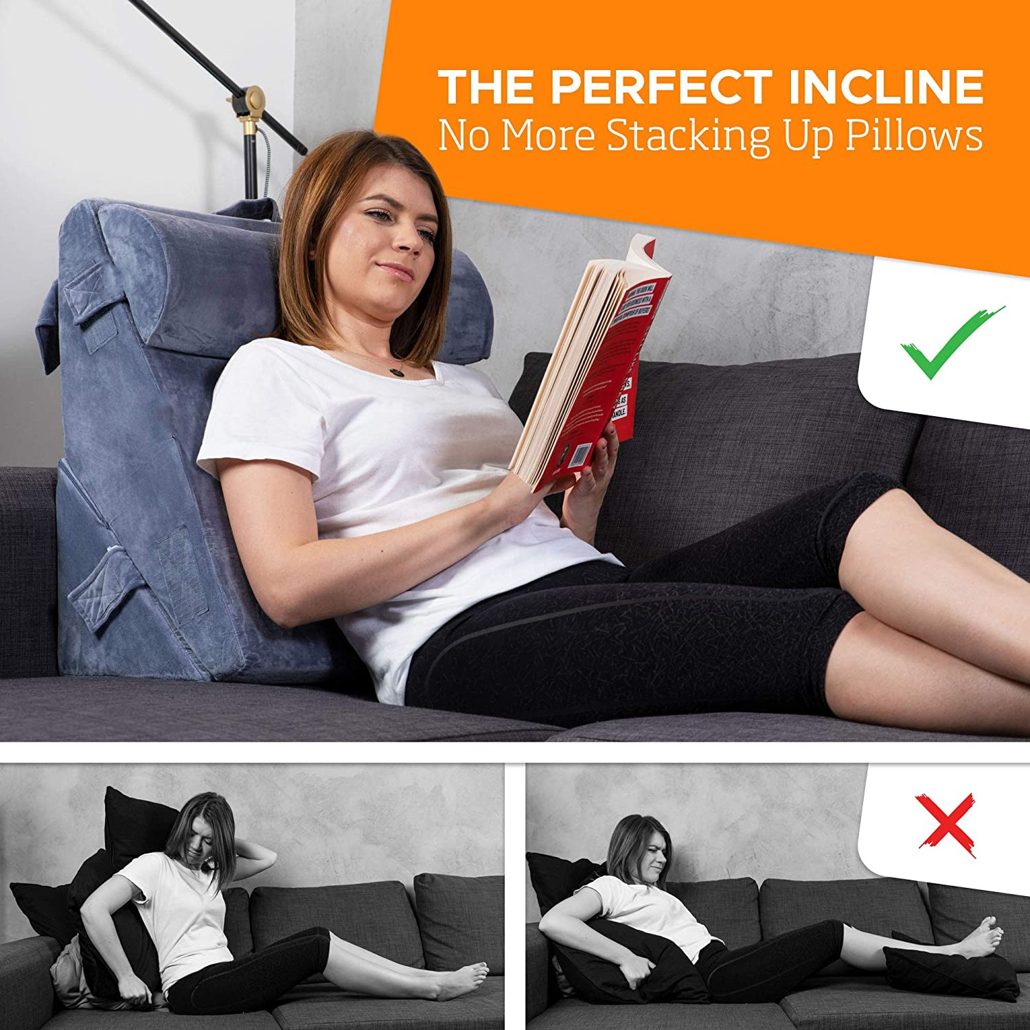 Orthopedic Bed Wedge Pillow for Back,Leg and Knee Pain Relief. Sitting Pillow for Reading, Adjustable Pillows