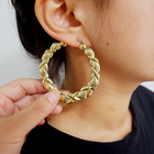 Hoop Hoop Bamboo Earrings Wholesale Retro 14K Gold Plated Big Large XOXO Heart Geometric Bamboo Hoop Earrings For Women