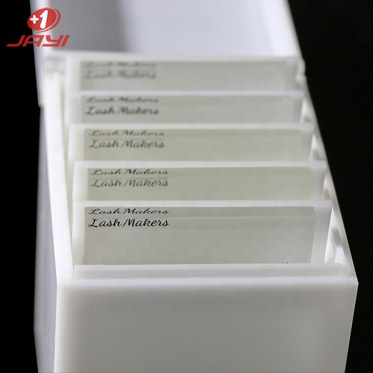 JAYI custom 5 плитки, маленький белый акриловый контейнер для хранения ресниц с черными венами