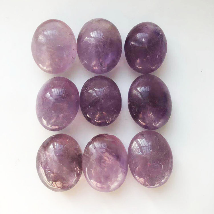 Wholesale Tumble Amethyst Palm Stone Natural Amethyst Quartz Healing Bulk Stone