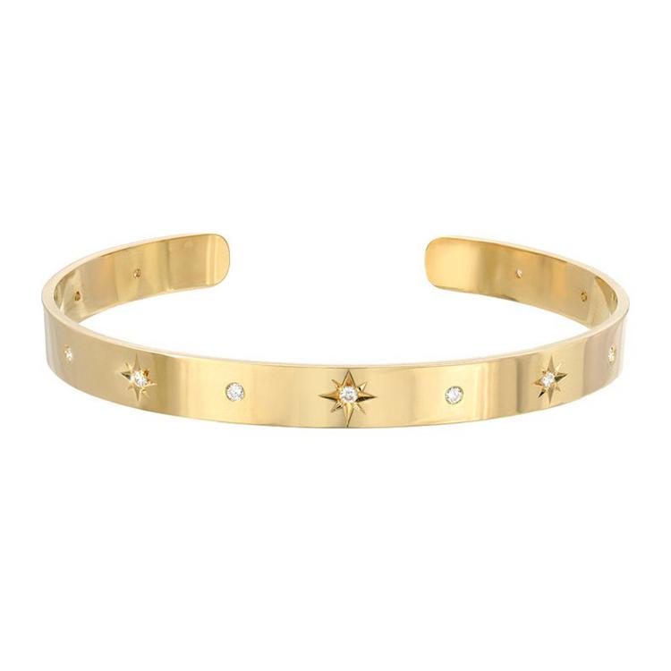 Модное кольцо из нержавеющей стали, покрытой 18K позолоченные Sunburst манжеты браслет с бриллиантом CZ
