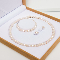 Wholesale Classic Real Freshwater Pearl Costume Bracelet Necklace Jewelry Set