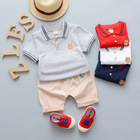 Guangzhou the best seller short sleeve animal V-neck boutique Kids clothing 1-12 months cute wholesale boys casual clothes