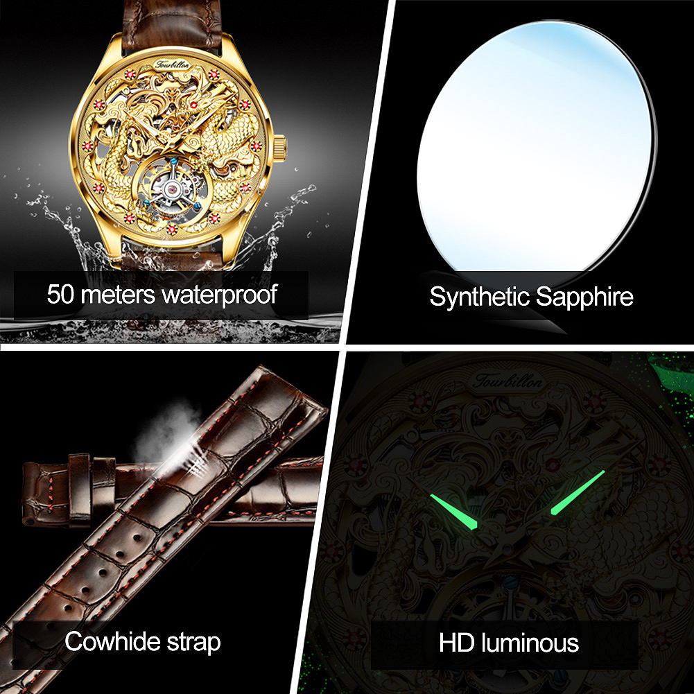 luxury brand watches Men's Steel hollow Automatic  - 1mrk.com