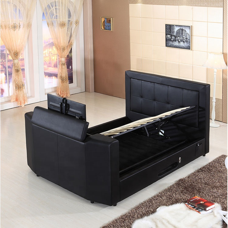 fabric upholstered black ottoman tv beds frame fabric TV beds high bed with tv in footboard