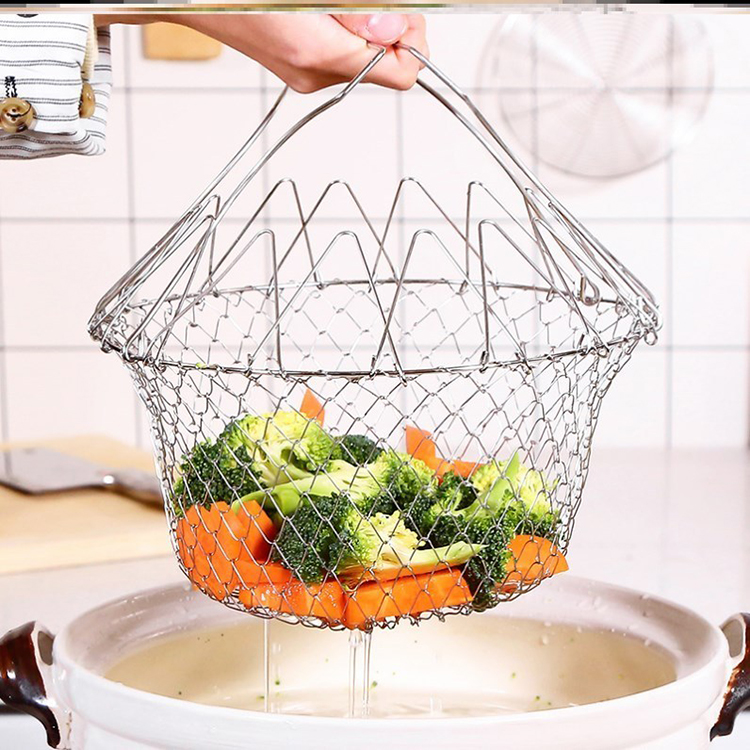 Kitchen Craft Wire Deep Fryer Basket Stainless Steel Mesh Foldable Frying Basket