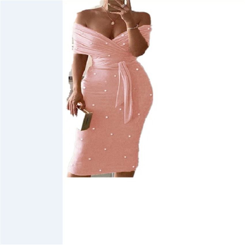 2021 New Foam Bead Wrap Chest Short Sleeve Belted Dress Dress Women