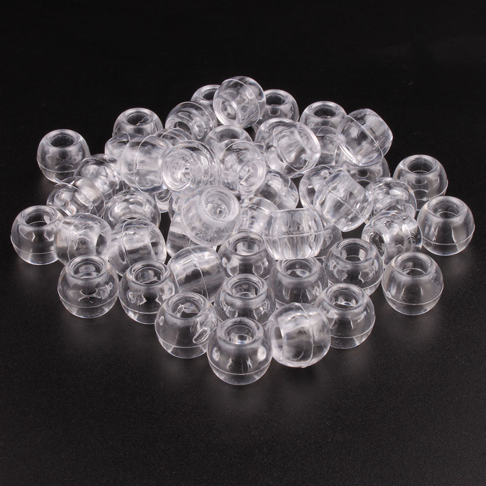 100pcs 12mm Acrylic Big Hole Transparent White Black Hair Beads For Box Braid Dreadlock Hair Accessories