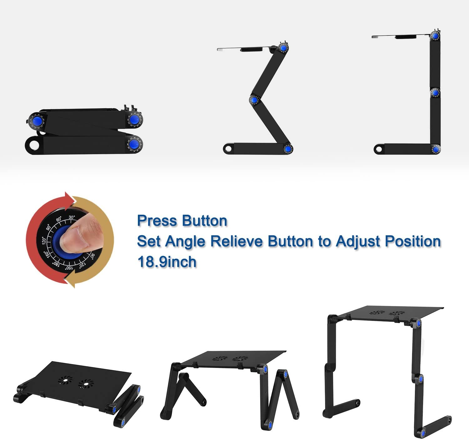 2020 Alunimum Height Adjustable Laptop Stand,Aluminum Laptop Bed Stand Notebook,Roost Foldable Aluminum Laptop Stand