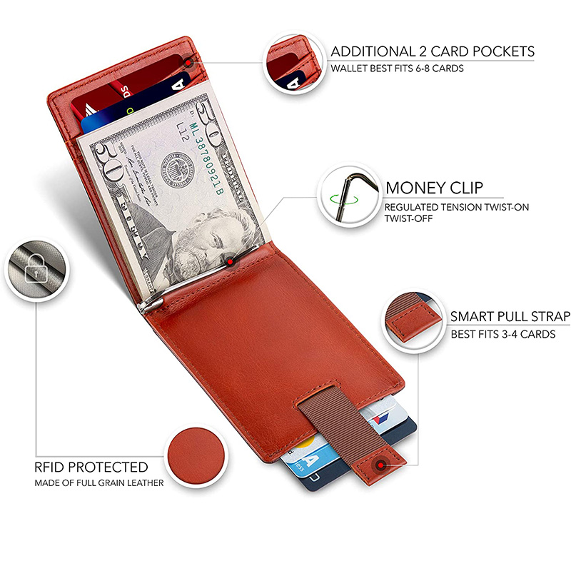Amazon Hot Personalized LOGO RFID Blocking Full Grain Leather Wallet Mens Money Clip Credit Card Holder
