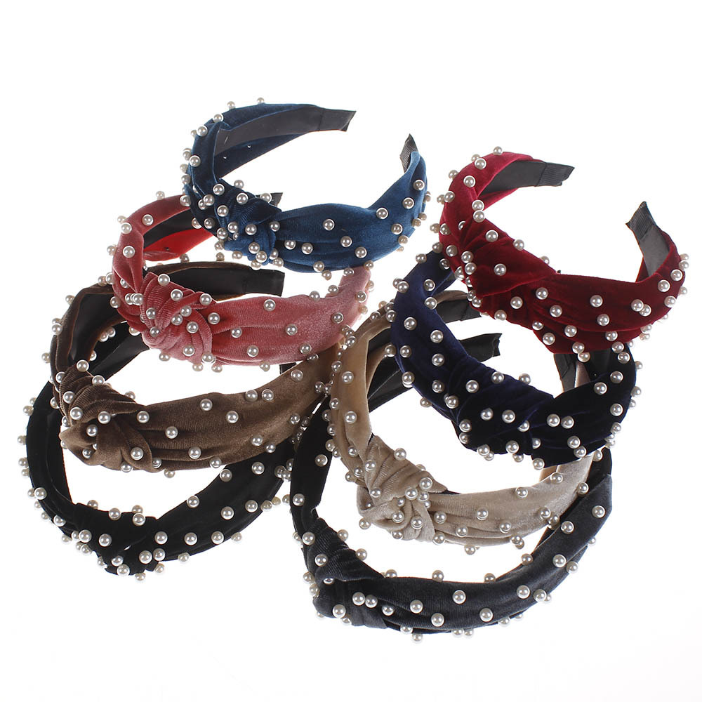 Women/'s Faux Leather Pearl Headband Wide Hairband Hair Band Hoop Accessories