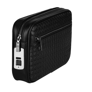 BUBM Custom Genuine Saffiano Real Lychee Pattern Leather Fingerprint Lock Clutch Man Bag
