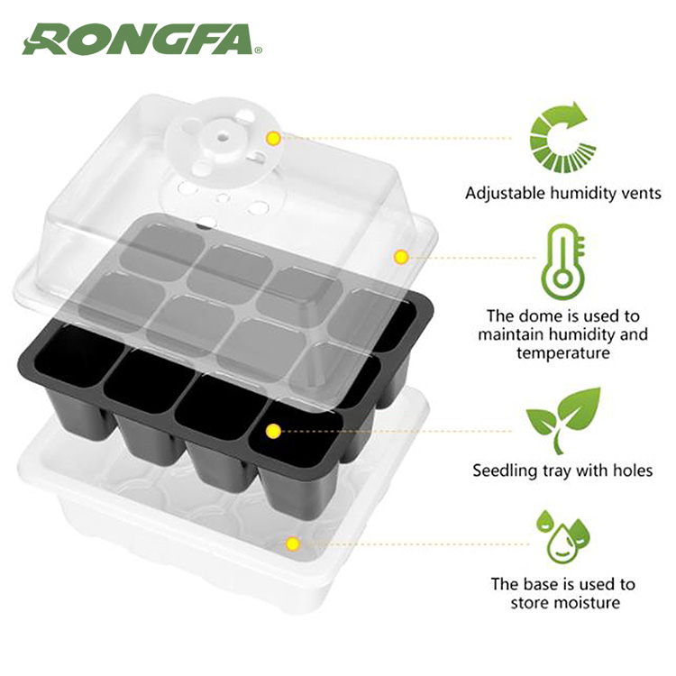 12 cell germination seed starter kit plastic seedling tray with dome hydroponic tray nursery grow box
