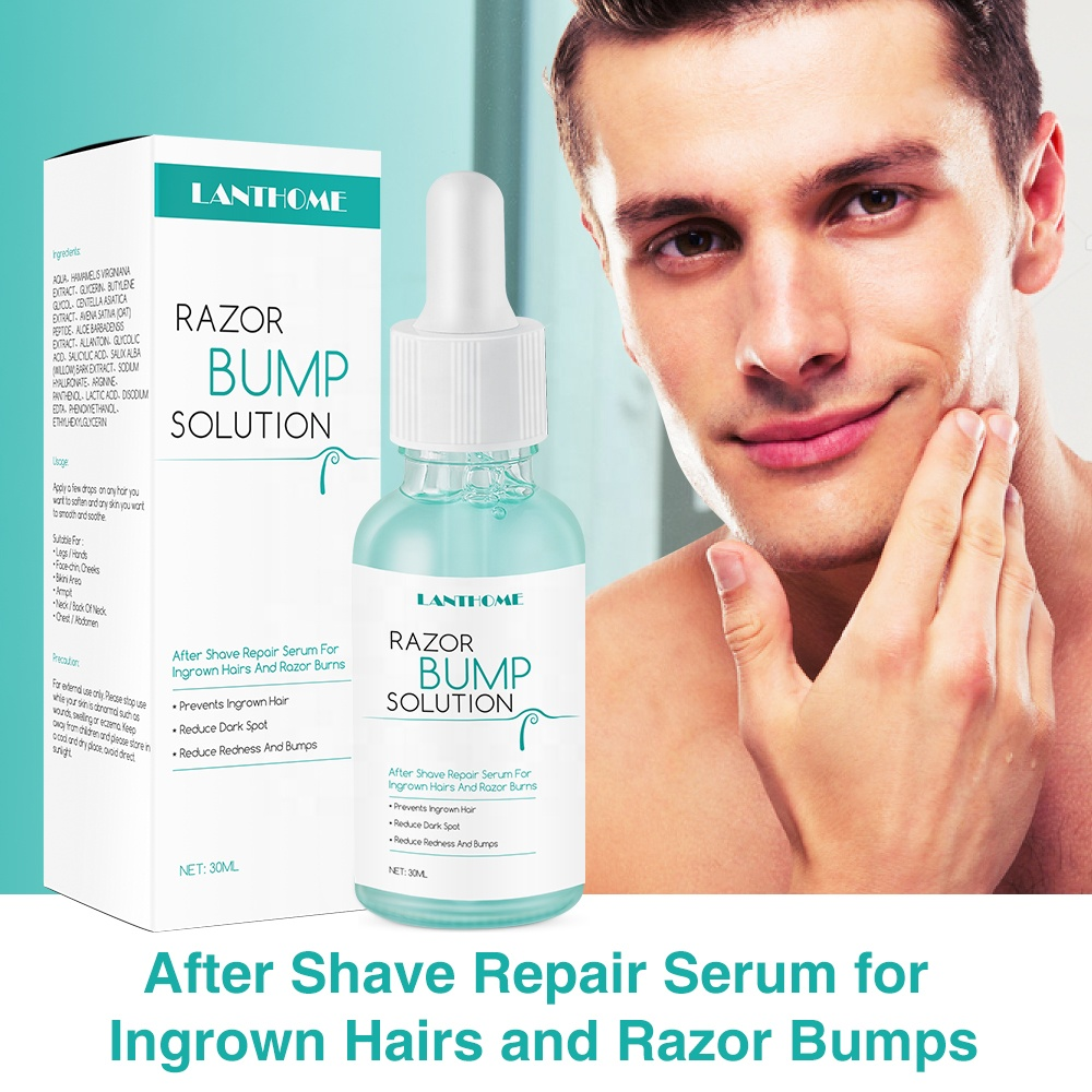 Men Beard Ingrown Hair Removal Oil Scrub Treatment Solution Exfoliating Brush Ingrown Hair Serum