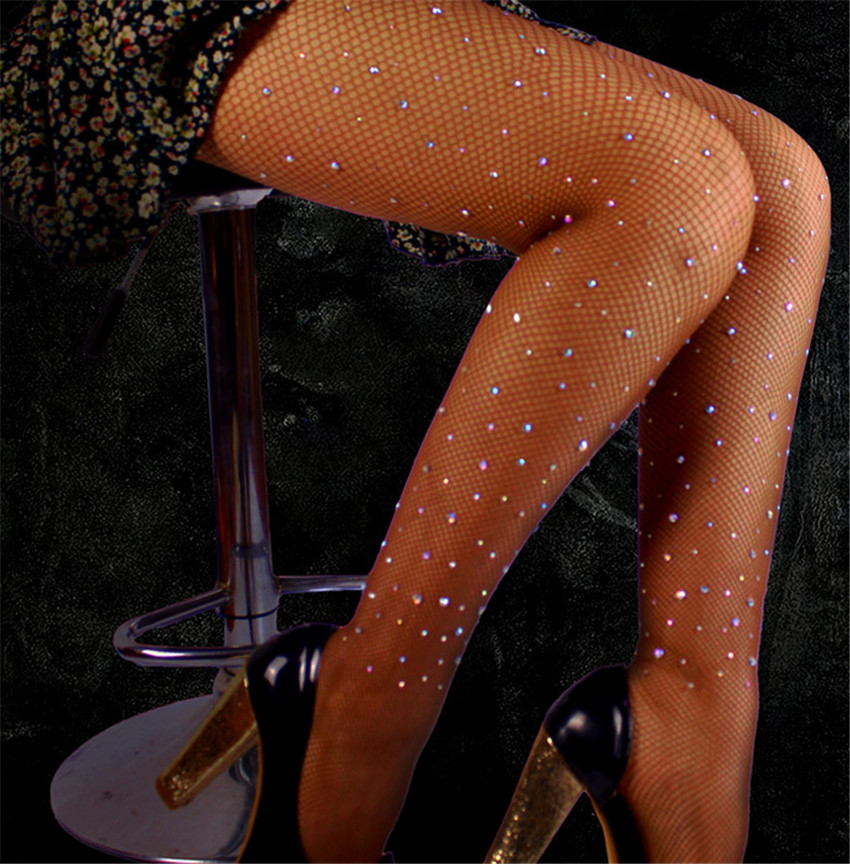 Diamond Fishnet Stockings Thigh Chain Sexy Belt Drill Net Socks