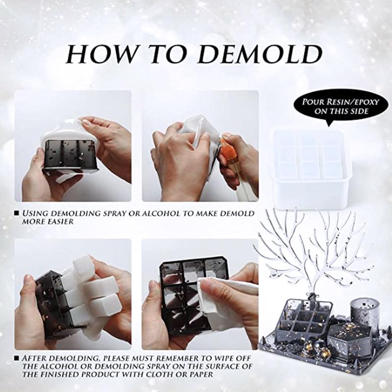 DIY crystal epoxy resin jewelry tray silicone mold square square lipstick storage box cake box ashtray pen holder silicone mold