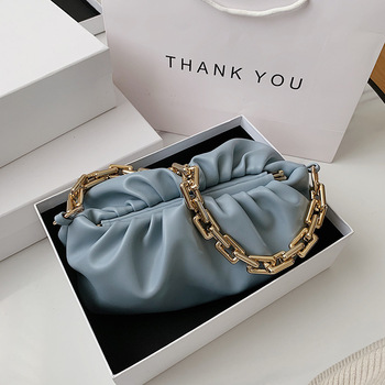 fashion pleated pouch shoulder bag leather cloud handbags women clutch bags 2020 with thick chain