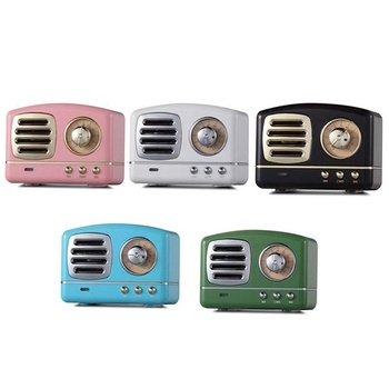 2019 Amazon hot HIFI Stereo mini Portable TV Shape Retro Bluetooth Speaker with FM Radio MIC Aux TF U Disk