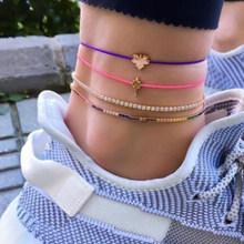Tocona 15 видов браслетов для женщин, летнее красочное плетение с кисточкой в виде ракушки, богемная цепочка для ног, ювелирные изделия, оптовая ...(Китай)