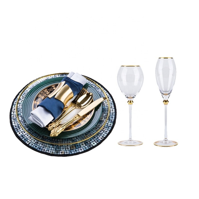 European American Cutlery set model room Western ceramic flat steak dishes plate Phnom Penh dark green glass Dinnerware set