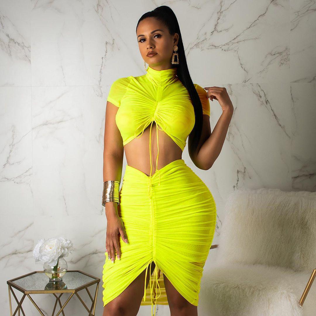 Неоновый, зеленый, желтый, сексуальный комплект из двух предметов, Женская водолазка с коротким рукавом, укороченный топ + Плиссированное об...(Китай)