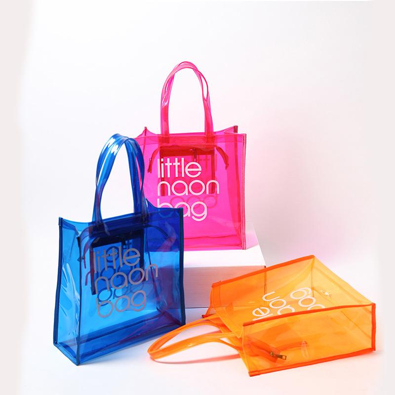 2020 модная большая прозрачная сумка-тоут из ПВХ, пляжная сумка, пластиковая сумка для покупок с собственным логотипом