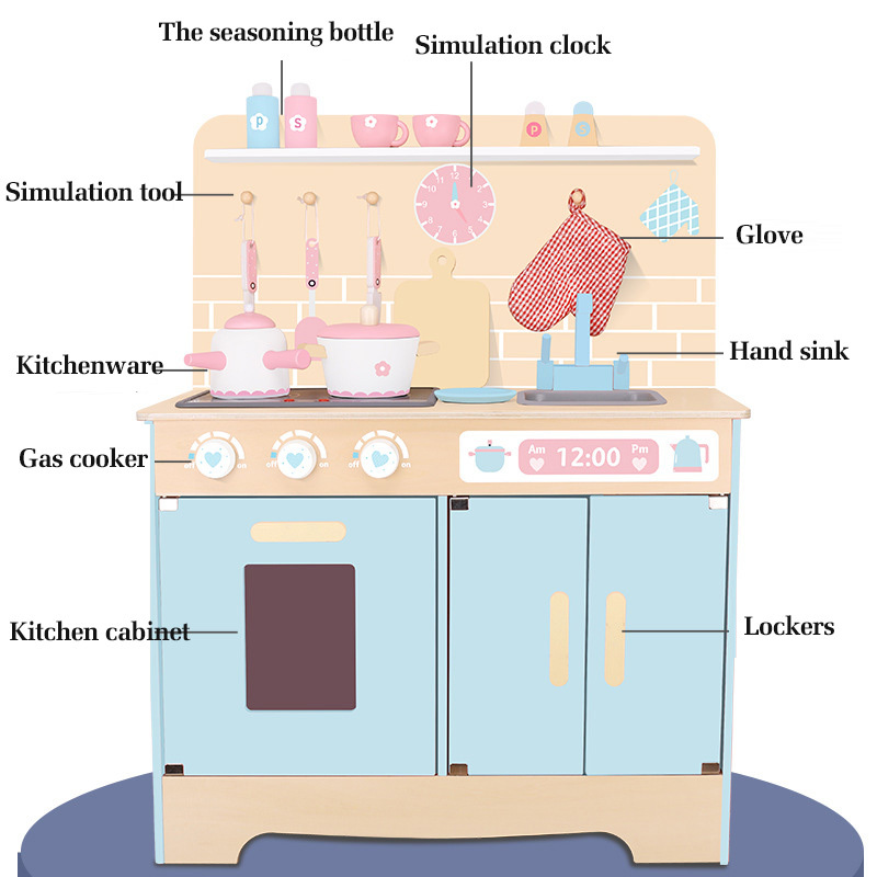 Children's Set Play House Simulated Tableware Oven Cooking Wooden Simulation Kitchen Toy