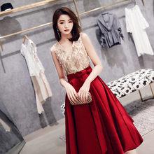 Женское вечернее Платье До Колена It's Yiiya AR492, элегантное платье с блестками и кисточками, вечернее платье с v-образным вырезом, 2020(Китай)