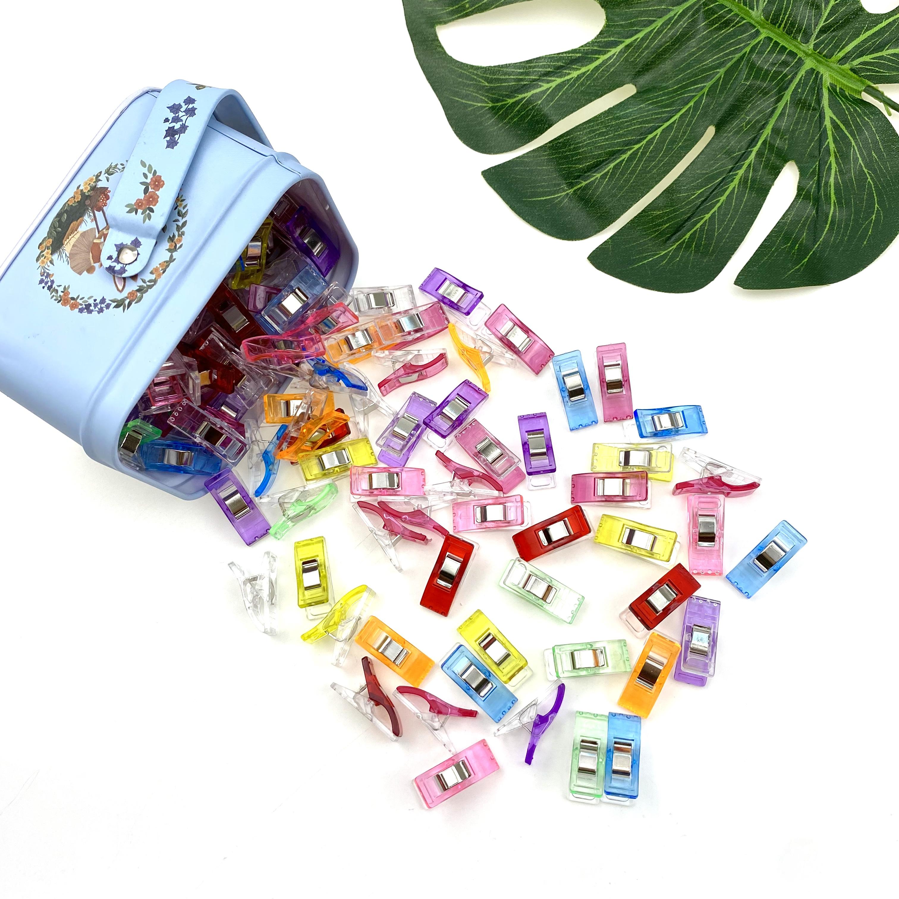Красочные многофункциональные пластиковые мини-зажимы для шитья 27 мм, прижимы для квилтинга для рукоделия, переплета с жестяной коробкой